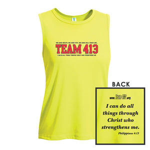 TEAM 413: Women's Sleeveless Tech Tank - Key Lime