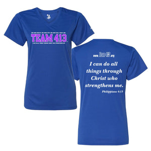 Team 413: Women's SS V-Neck Tech Tee - Royal