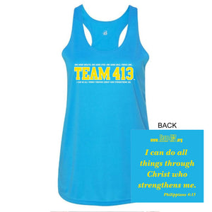 Team 413: Women's Racerback Tech Tank - Baby Blue - by Badger