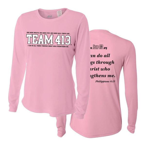 Team 413: Women's A4 Long Sleeve Tech Tee - Powder Pink
