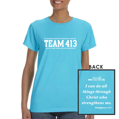 TEAM 413: 'TEAM 413 Design' Women's SS Cotton Tee - Lagoon Blue