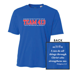 TEAM 413: 'TEAM 413 Design' Youth SS Tech Tee - Royal