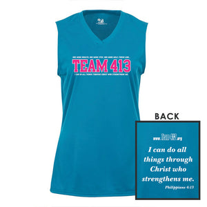 TEAM 413: 'TEAM 413 Design' Women's Sleeveless Tech Tank - Electric Blue