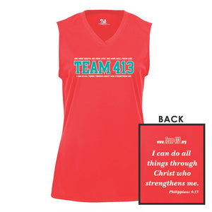 TEAM 413: 'TEAM 413 Design' Women's Sleeveless Tech Tank - Hot Coral