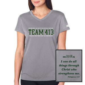 TEAM 413: Women's SS V-Neck Tech Tee - Gravel / Green Print