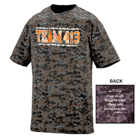 TEAM 413: Men's SS Camo Tech Tee - Graphite