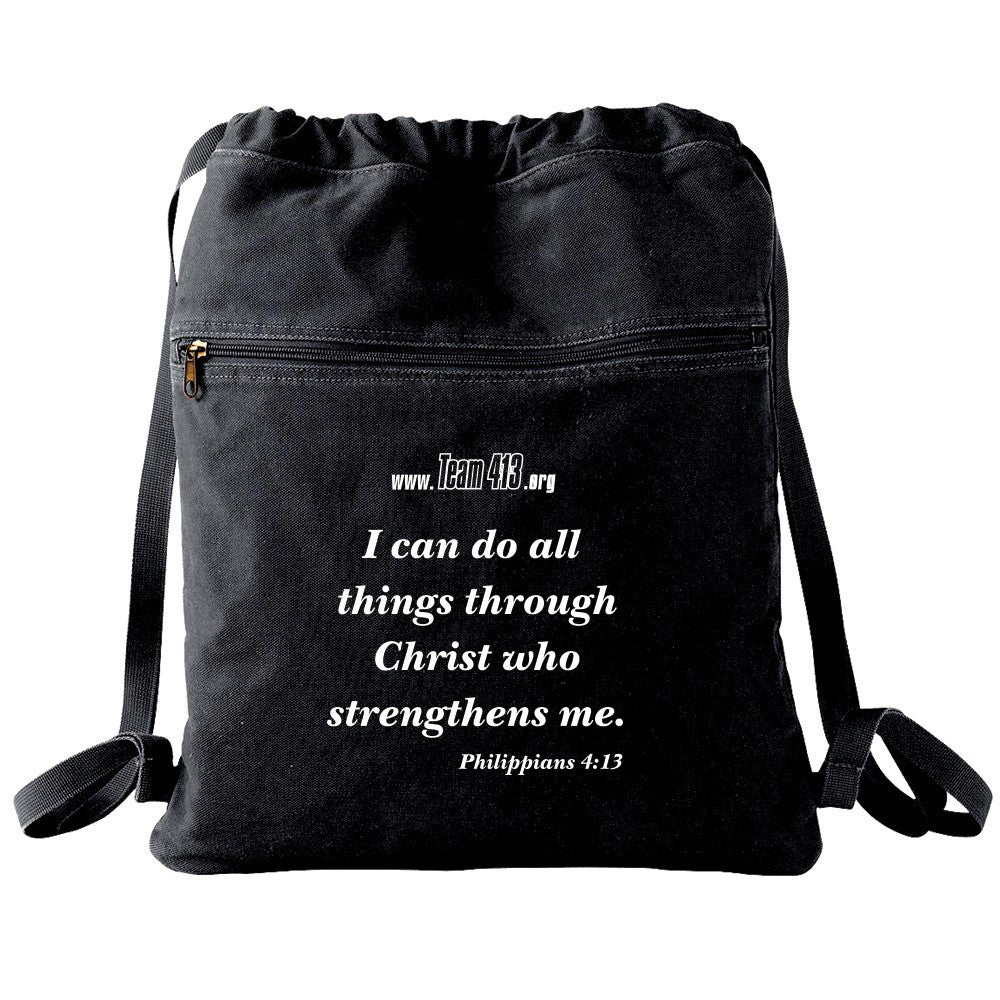 TEAM 413: 4:13 Quote Canvas Cinch Bag - Black