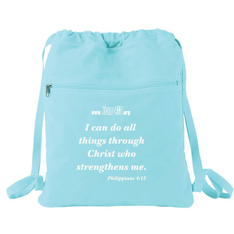 TEAM 413: 4:13 Quote Canvas Cinch Bag - Seafoam
