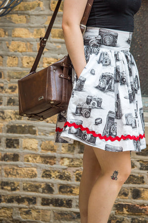 Black and White Vintage Camera Print Dirndl Skirt