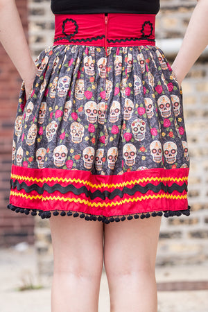 Dia de los Muertos Catrinas Dirndl Skirt | Ready to Wear Size 8