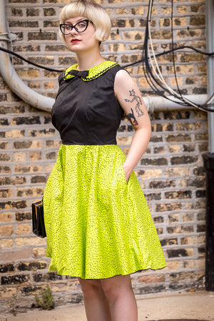 Green and Black Polka Dot Fit and Flare Dress with Peter Pan Collar