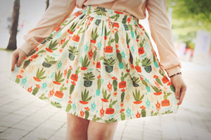 Southwest Cactus and Bird Dirndl Skirt