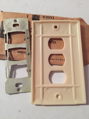 Ivory Bakelite Electrical Flush Plate Outlet Cover | New Old Stock