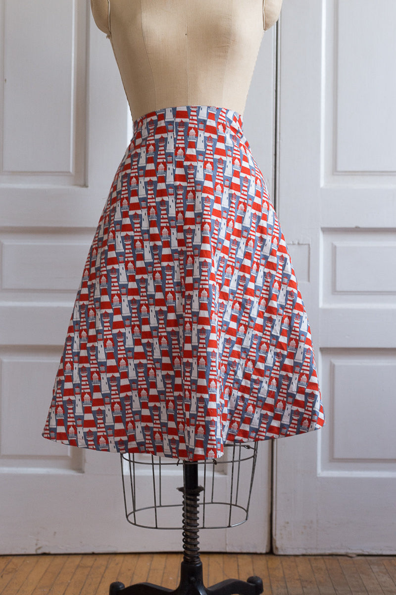 Red, White and Blue Lighthouse Print Mid-Length High-Waisted Skirt