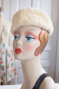 Golden Pearl White Pie Crust Vent Mink Pillbox Hat | Vintage 1950s