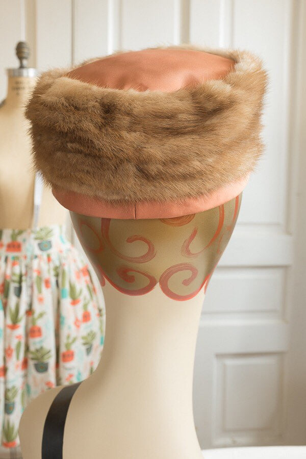 Mink Fur and Peach Satin Pillbox Hat with Gold Glitter Lucite Hat Pin | Vintage 1950s Decé Original