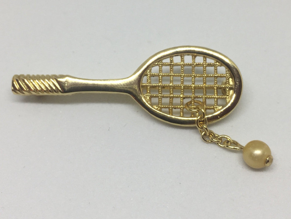 Tennis Racquet & Pearl Ball Pin | Vintage 1970s