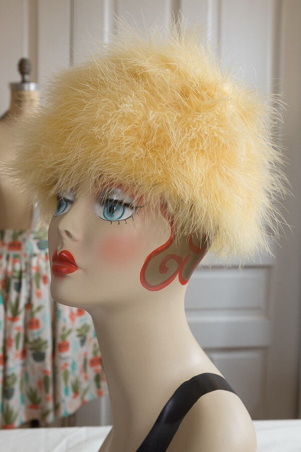 Canary Yellow Feather Beehive Pillbox Hat | Vintage 1960s