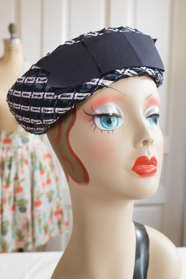 Navy Blue and White Cellophane Straw Breton Hat | Vintage 1960s