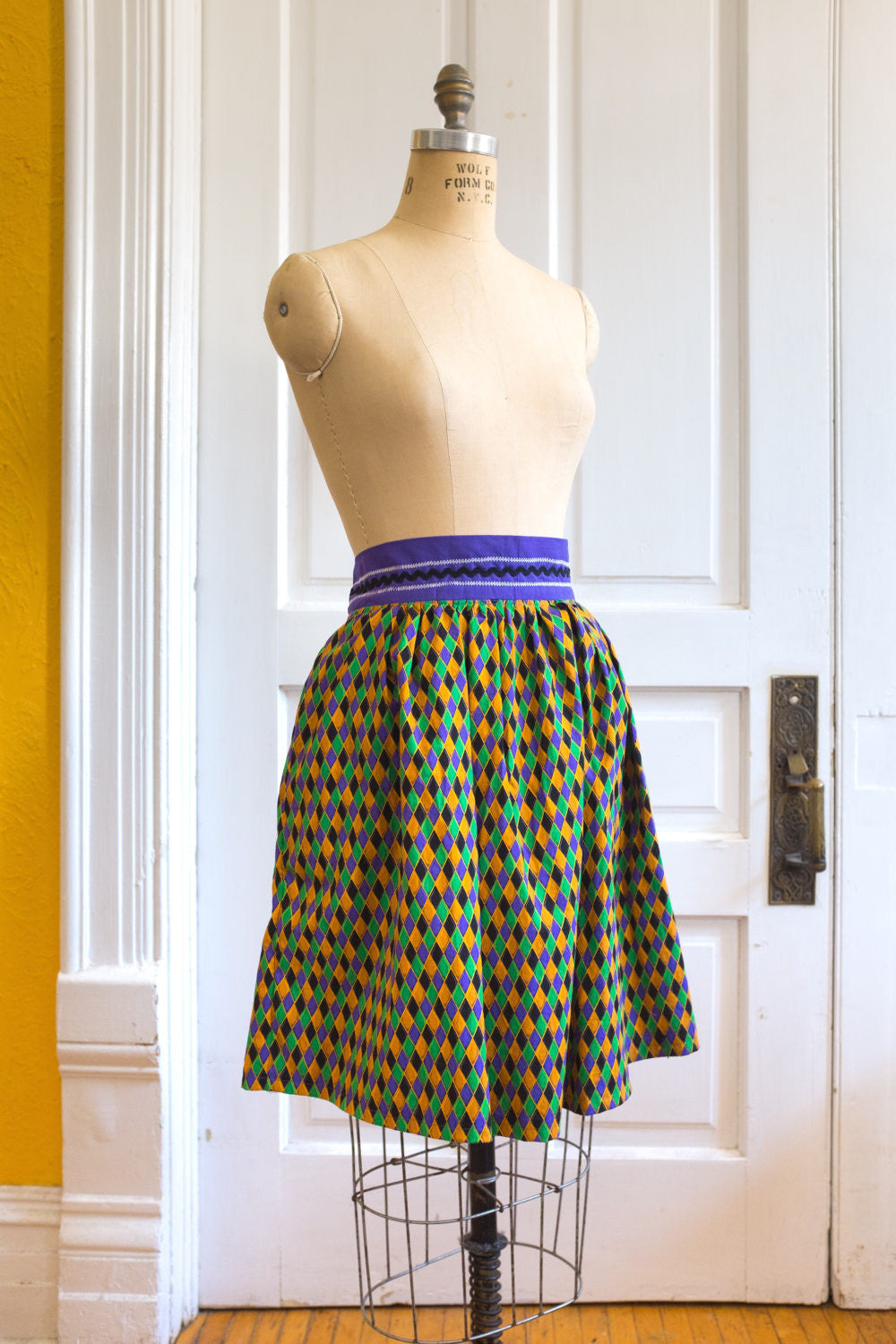 Mardi Gras Diamond Harlequin Carnival Dirndl Skirt | Ready to Ship US 12