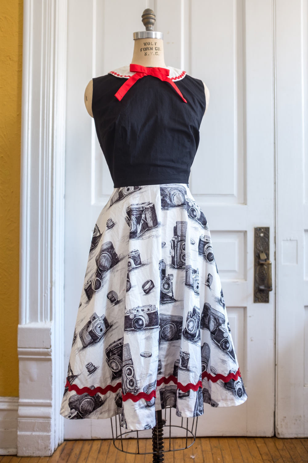 Vintage Camera Print Fit and Flare Librarian Dress with Peter Pan Collar
