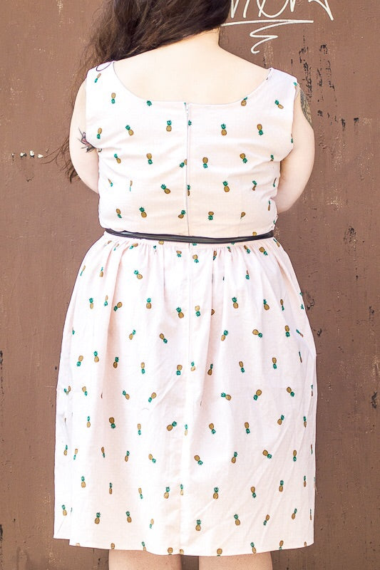 Pineapple and Pink Polka Dot Print Sweetheart Dress