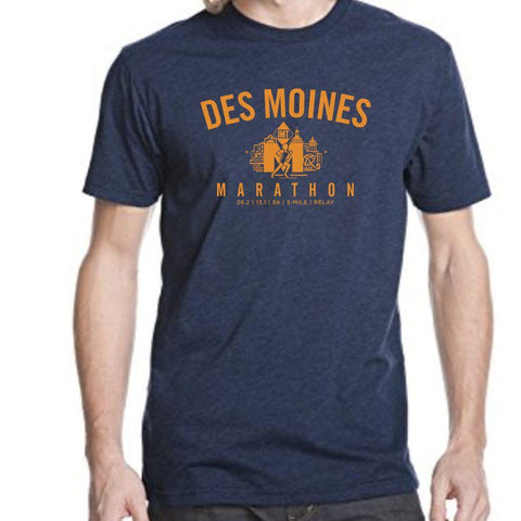 Des Moines Marathon: 'Collegiate' Men's SS Tri-Blend Tee - Midnight - by Tultex