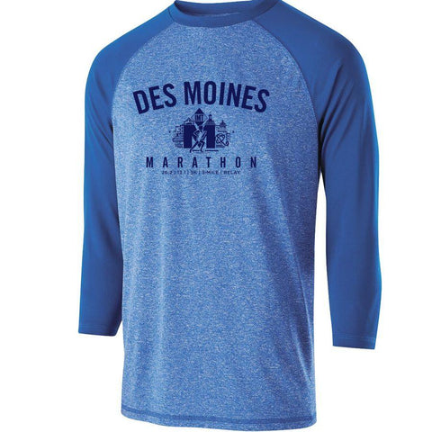 Des Moines Marathon: 'Collegiate' Men's 3/4 Sleeve Tech Heathered Tee - Royal Heather - by Holloway