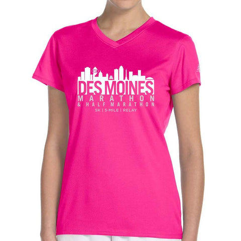 Des Moines Marathon: 'Skyline' Women's SS Tech Tee - Safety Pink - by New Balance