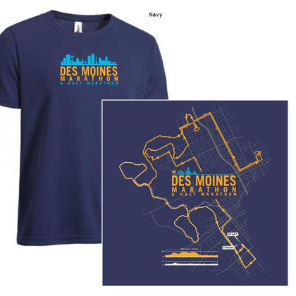 Des Moines Marathon: '2017 Map' Men's SS Tech Tee - Navy