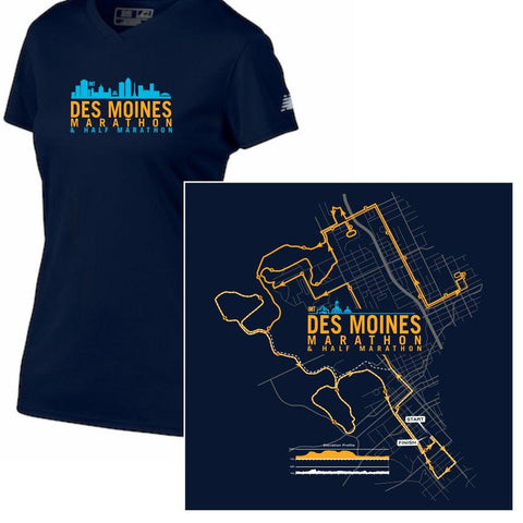 Des Moines Marathon: '2017 Map' Women's SS Tech Tee - Navy - by New Balance