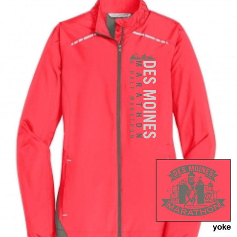 Des Moines Marathon: 'Left Chest Print' Women's Reflective Lightweight Full Zip Jacket - Hot Coral - by Port Authority