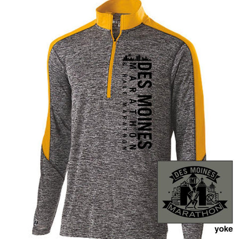 Des Moines Marathon: 'Left Chest Print' Men's Tech 'Electrify' Pullover 1/2 Zip - Black Heather / Light Gold - by Holloway
