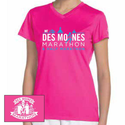 Des Moines Marathon: 'Runners' Women's SS Tech V-Neck Tee - Safety Pink - by New Balance