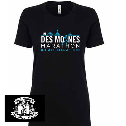 Des Moines Marathon: 'Runners' Women's SS Fashion Tee - Black - by Next Level