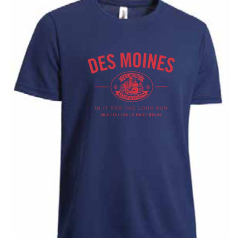 Des Moines Marathon: 'Collegiate' Men's SS Tech Tee - Navy