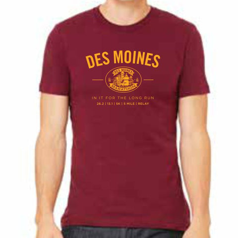 Des Moines Marathon: 'Collegiate' Men's SS Fashion Tee - Cardinal - by Canvas