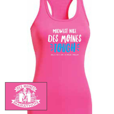 Des Moines Marathon: 'Tough' Women's Racerback Tech Singlet - Hot Pink