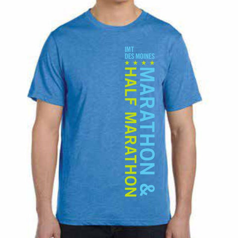Des Moines Marathon: '2016 Directions Map' Men's SS Tri-Blend Tee - True Royal Triblend - by Canvas