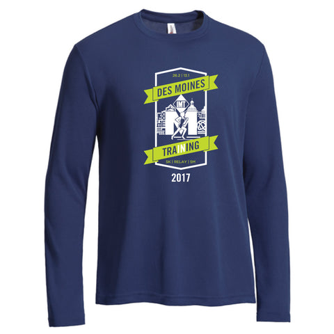 Des Moines Marathon: '2017 In Training' Men's LS Tech Tee - Navy
