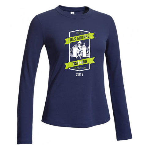 Des Moines Marathon: '2017 In Training' Women's LS Tech Tee - Navy