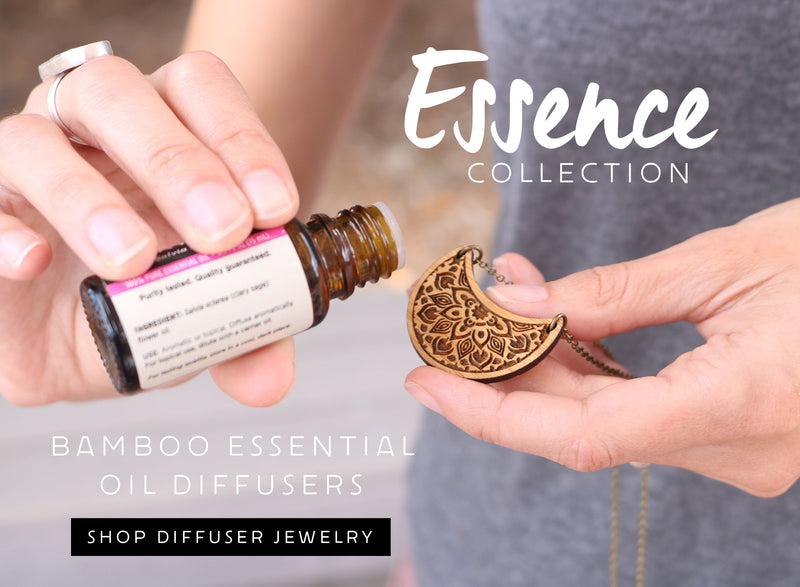 Bamboo essential oil diffuser jewelry handmade in Colorado by Lucky Tree Studio