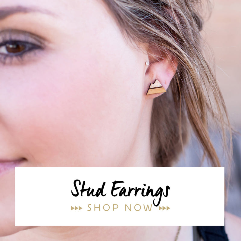 Lucky Tree Studio laser cut bamboo stud earrings