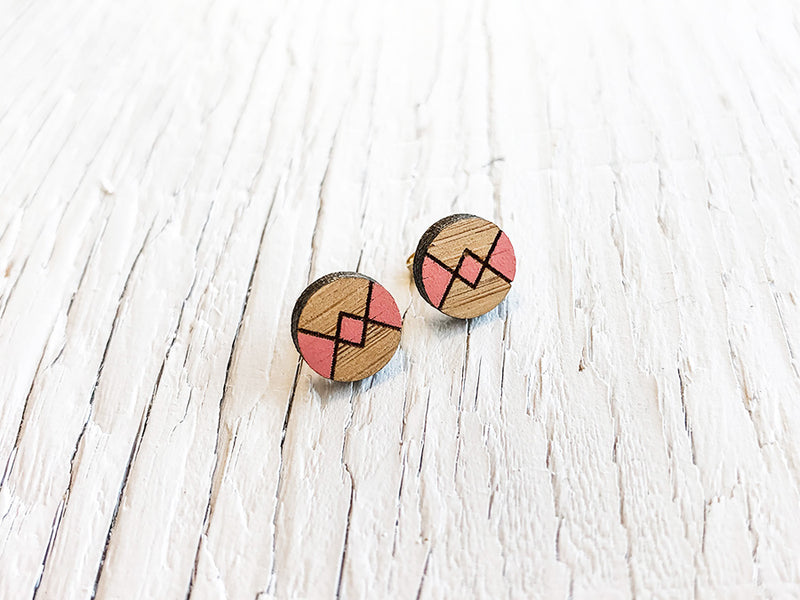 Argyle Hand Painted Stud Earrings
