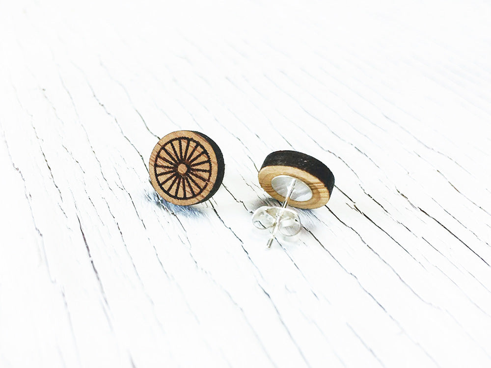 Bike Wheel Stud Earrings