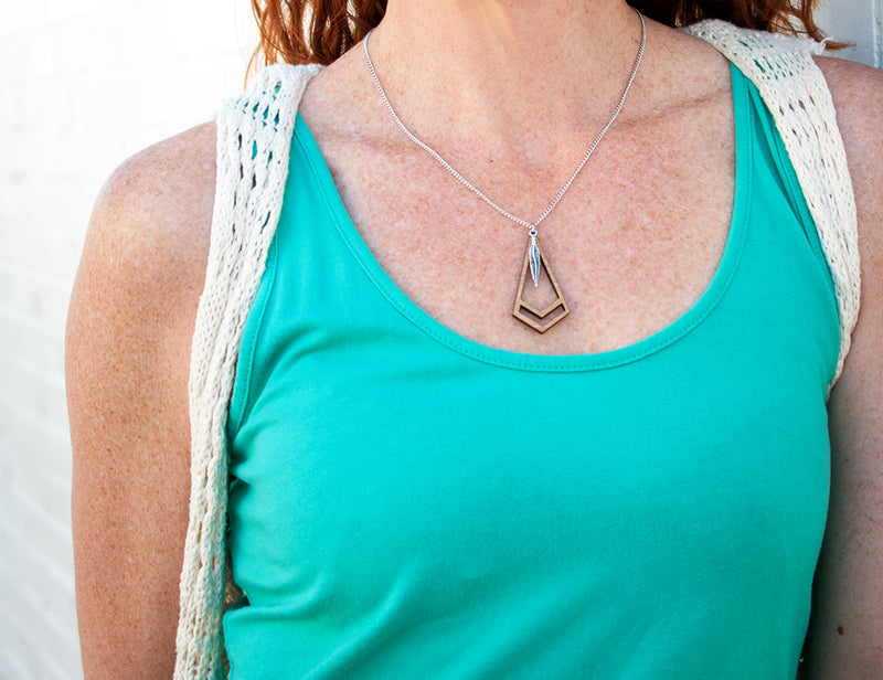 Chevron Feather Kite Necklace