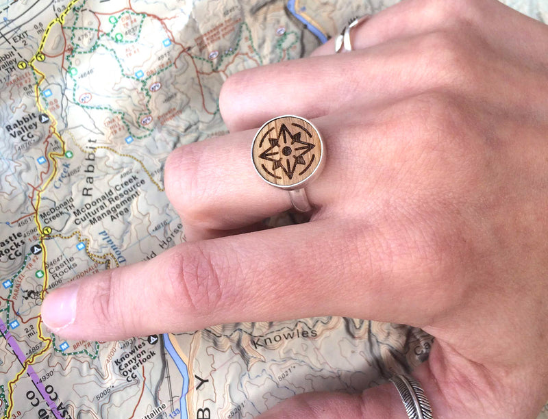 Sterling Silver Bamboo Compass Ring