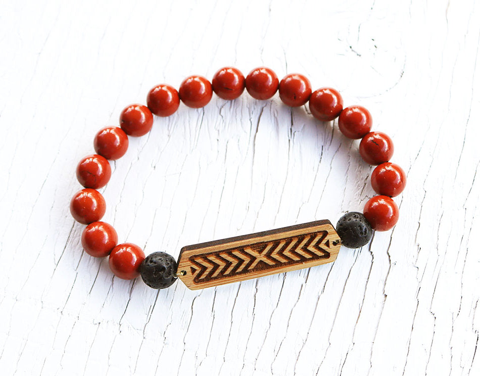 Courage Red Jasper Bamboo Diffuser Bracelet