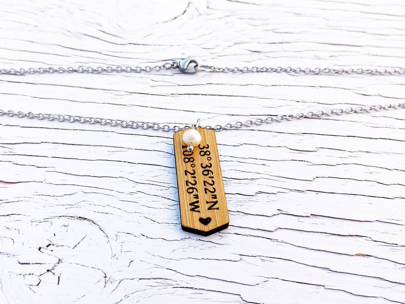 Custom Coordinates Bamboo Necklace