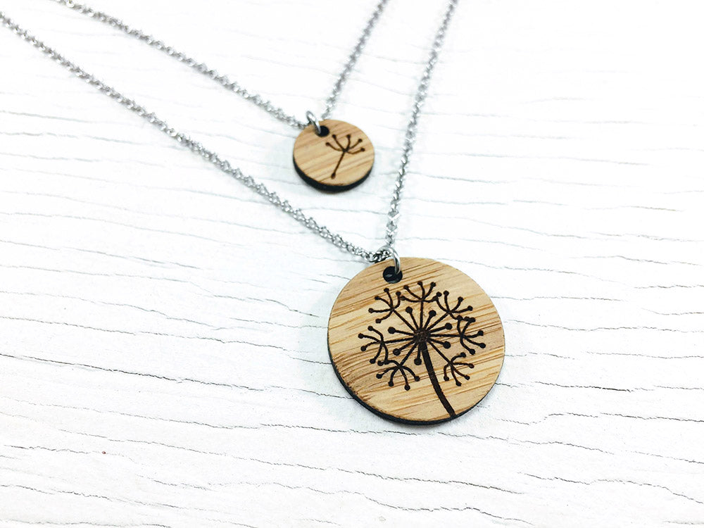 Dandelion Mother Daughter Diffuser Necklace Set